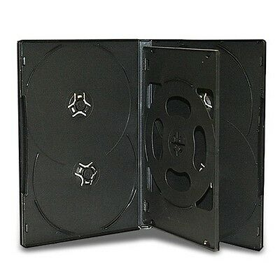 14mm 6 Disc DVD Case Black With 1 Tray Overlapping Design 50 Pack