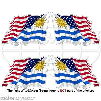 USA United States America-URUGUAY Flying Flag Uruguayan 50mm Stickers Decals x4