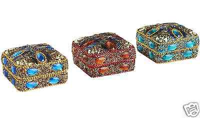 3 Beaded Feather Mini Boxes, Glass Beads & Glitter, Pier 1, Aqua Blue & Red New!