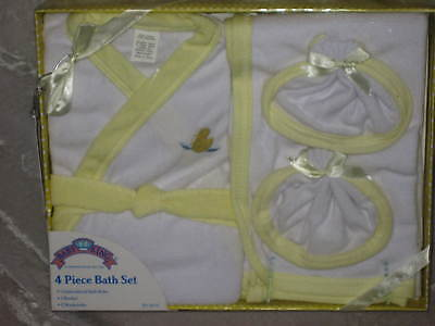 4 pc Gift Baby Bath Set Robe Embroidered Duck Yellow