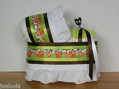 Monkey Jungle Green Brown Boy Diaper Bassinet Baby Shower Safari Centerpiece