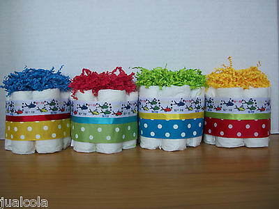 4 Dr Seuss 1 Fish 2 Fish  Mini Diaper Cakes Baby Shower Table Decoration
