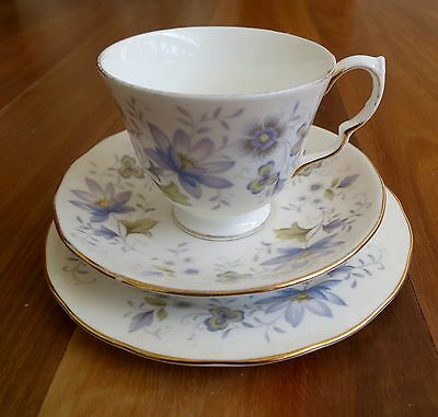 Vintage COLCLOUGH Bone China Cup Saucer Plate TRIO Blue Floral 1960-   Used