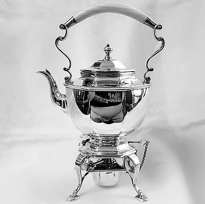 English Tipping Tea Kettle Warming Stand Bradbury 1907 London sterling silver