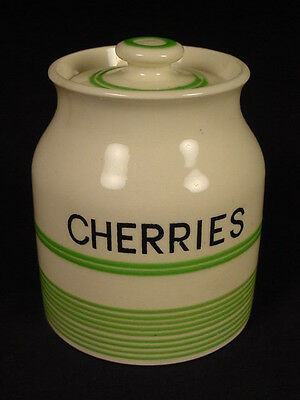 RARE SMALL GREEN BANDED CHERRIES JAR with LID KLEEN KITCHEN WARE STAFFORDSHIRE