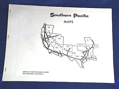 SOUTHERN PACIFIC RAILROAD BOOK of 18 MAPS 1966 - OFFICE OF THE CHIEF ENGINEER
