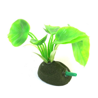 8cm High Green Manmade Plastic Water Plant w Air Stone Base for Fish Tank