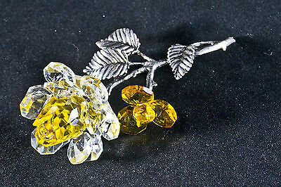 YELLOW CRYSTAL & METAL STEM ROSE ORNAMENT GIFT FLOWER- New in box