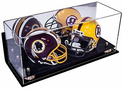 Double Mini Football Helmet Display Case with Mirror & Wall Mount (A019-GR)