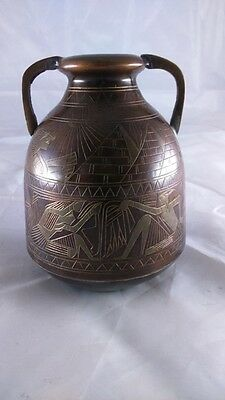 old Egyptian bronze Vase - ancien petit vase en bronze égyptien