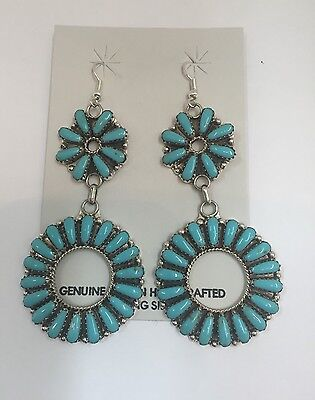 Native American Sterling Silver Handmade Turquoise Dangle Cluster Earring