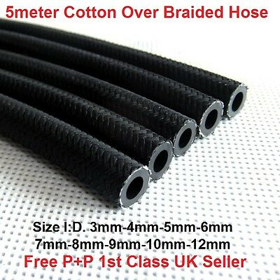 5Mtr -COTTON BRAIDED RUBBER FUEL PIPE TUBING PETROL DIESEL LINE UNLEADED HOSE UK