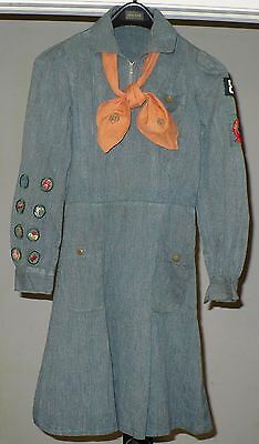 ANTIQUE GIRL SCOUT DRESS HAND STITCHED with SCARF & PATCHES