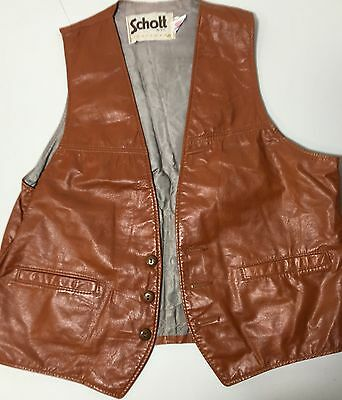 Vtg Brown Schott Leather Button Vest USA Men's M-L SBH