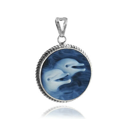Dolphins Cameo Pendant - 925 Sterling Silver - Ceramic Blue Ocean Marine NEW