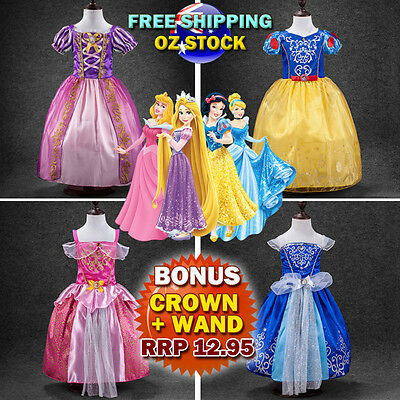 New Girls Princess Rapunzel Snow White Aurora Sofia Cinderella Costume Dress Up