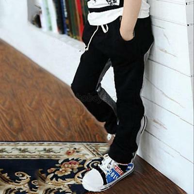 Casual Toddler Boys Casual Sports Cotton Slim Pants Solid Black&Grey Trousers