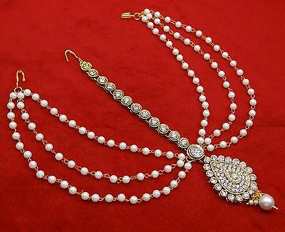 Indian Goldtone Matha Patti Women Head Chain Maang Tikka Hair Accessory Jewelry