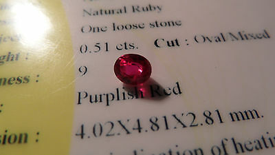 Rare Certified 0.51ct Investment Grade Unheated Transparent Ruby!!