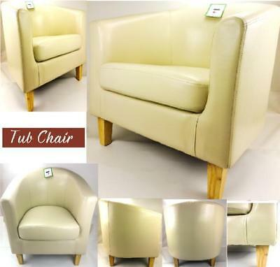 Cream Bonded Leather Tub Chair Armchair Dining Living Room Office Reception