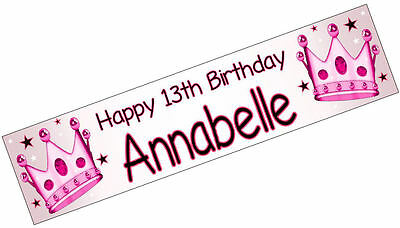 PERSONALISED BANNERS NAME AGE PHOTO BIRTHDAY PARTY Crown pink princess girl S2