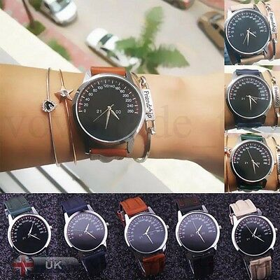 New Womens Fashion Stainless Steel Leather Band Analog Quartz Luxury Wrist Watch