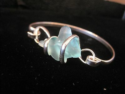 5ab052666a434 SILVER PLATED LIGHT Blue Sea Glass Bracelet, Jewelry, Sea Glass, Silver, US  Sell