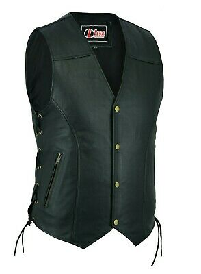 LEATHER WAISTCOAT Biker Vest Motorcycle MotorBike Leather Vest With Zip Pocket