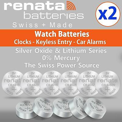 2x Renata Watch Battery Swiss Made - Silver Oxide - Joblot All Sizes Batteries