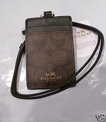 NWT COACH Signature Black/Brown Lanyard Badge ID Holder Case 63274