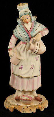 Vntg Chalk Ware Female/Lady Figurine Hand Painted Collectible Decorative Pitcher