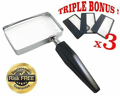 3x Handheld Magnifying Glass with 3 Bonus Wallet Size Magnifying Lens