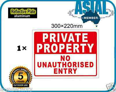 PRIVATE PROPERTY NO ENTRY Aluminium Reflective Plate Metal Sign 300 x 220mm