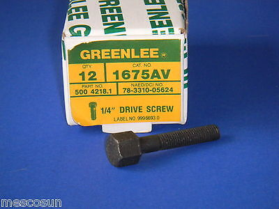 """GREENLEE Model 1675AV  1/4"""" Drive Screw for Round Radio Chassis Knockout Punch"""