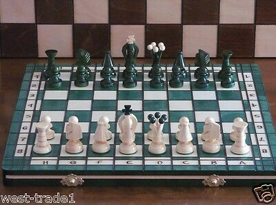Brand New ♞Hand Crafted Wooden Green Chess And Draughts Set 36cm x 36cm ♖