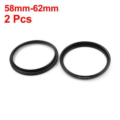 2Pcs 58 to 62mm Aluminum Camera Step Up Lens Filter Ring Adapter