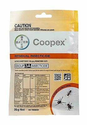 Coopex Residual Insecticide 25g Sachets Bayer Permethrin Water Soluble No Smell