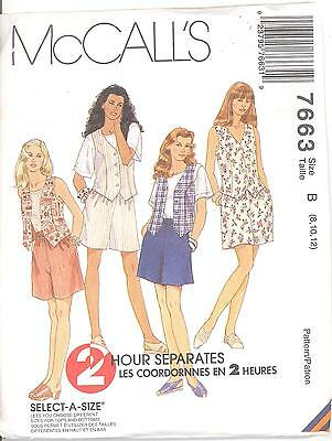 Vest Pull-On Pants and Shorts Top Skirt McCall/'s 9167 Misses/' Unlined Jacket