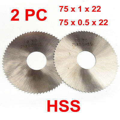 "2PC HSS Milling Slotting Cutter 75x22mm, 0.5-1mm 72 Teeth, 3"" Slitting Saw Disc"