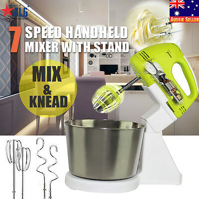 7 Speed Electric Hand Mixer Whipper Strip Egg Beater Stand Food Cake Dough Bake