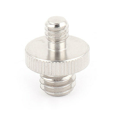 """1/4"""" Male Threaded to 3/8"""" Male Threaded Double Male Screw Adapter Silver Tone"""