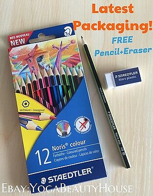 FREE Pencil + Eraser STAEDTLER 12pc Noris Colour Pencil (art craft Faber draw)
