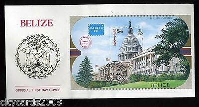 1985 BELIZE  Ameripex M/S  First Day Cover