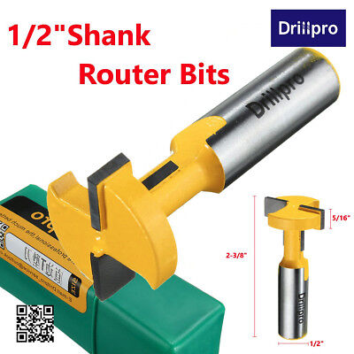 """Drillpro T-Slot & T-Track Slotting Router Bit 1/2"""" Shank For Woodworking Cutter"""