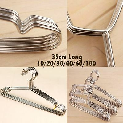 10/20/30 Strong Silver Metal Wire Hanger Clothes Coat Trouser Anti Slip Bar 35cm