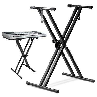 Heavy Duty Folding Double X Frame Keyboard Adjustable Stand Piano With Straps