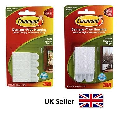3M Command Medium or Small Adhesive Strips Wall Picture Frame Poster Hanging