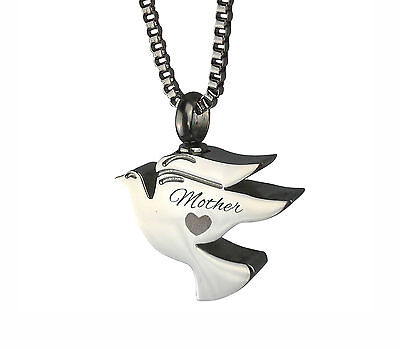 Cremation Jewellery - Memorial Ash Urn Pendant - Mother Dove - Engraving