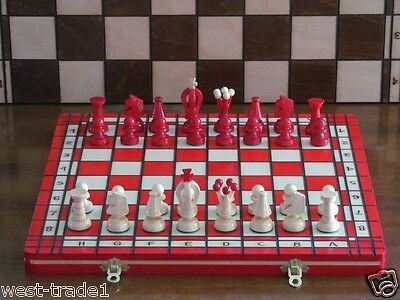 Brand New ♞Hand Crafted Wooden Red Chess And Draughts Set 36cm x 36cm ♖