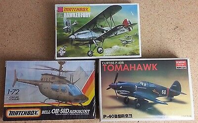 P-40B Tomahawk Hawker Fury Aeroscout Model Airplane Helicopter Kit - 3 Piece Lot